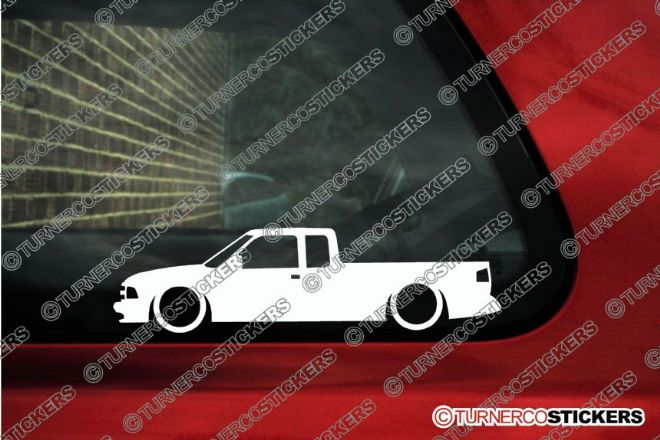 2x LOW Chevrolet S-10 extended Pickup (1994-1997) Lowered outline stickers